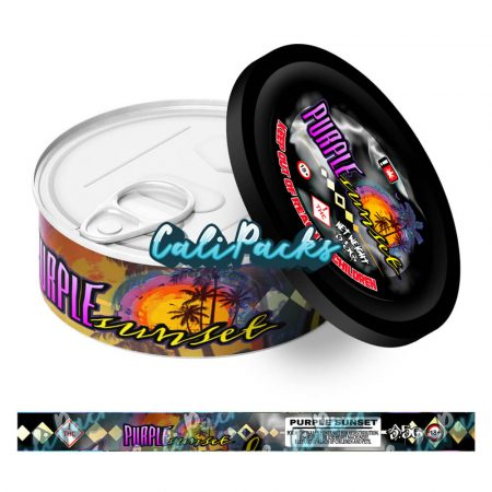 Purple Sunset Self Seal Ring Pull Tin Labels - 3.5g