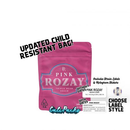 Cookies Pink Rozay 3.5g Bags with Hologram Stickers and Strain Labels