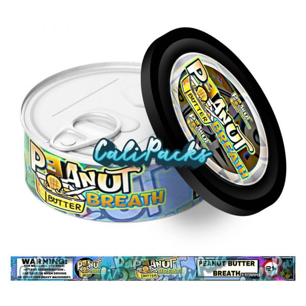 Peanut Butter Breath Self Seal Ring Pull Tin Labels - 3.5g