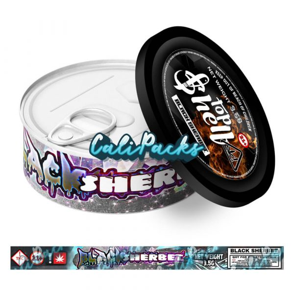 Black Sherbet Tin Labels 3.5g - Top Shelf
