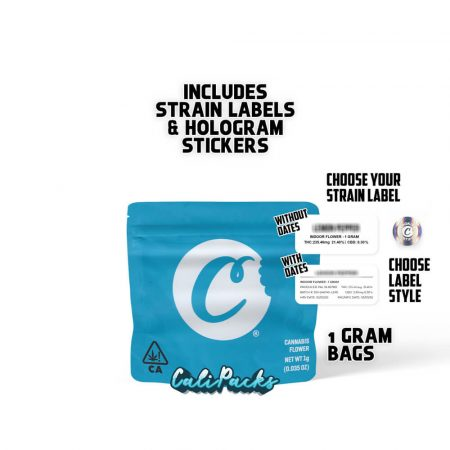 Cookies Blue C 1g bag with Strain Labels and Holograms