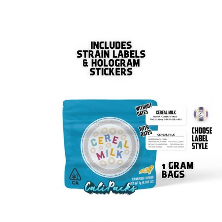 Cookies Cereal Milk 1g Mylar Bag with Strain Labels and Holograms