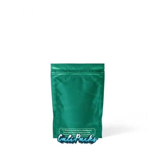 3.5g Blank Mylar Bags Green with Clear Front - Pack of 50