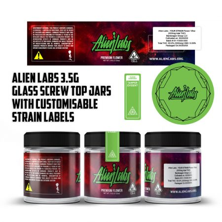 Alien Labs 3.5g Screw Top Glass Jars with Customisable Strain Labels