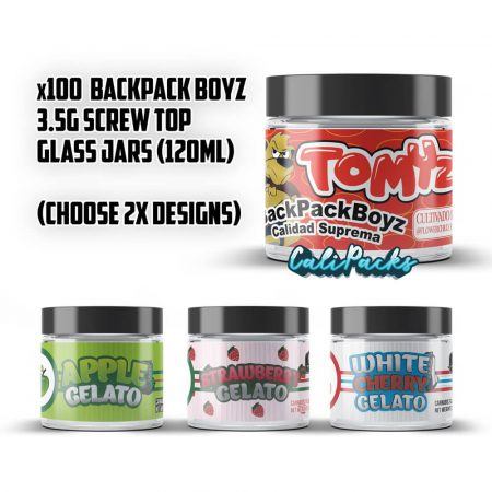100x Backpack Boyz 3.5g 120ml Screw Top Glass Jars (Choose 2x Sticker Sets)