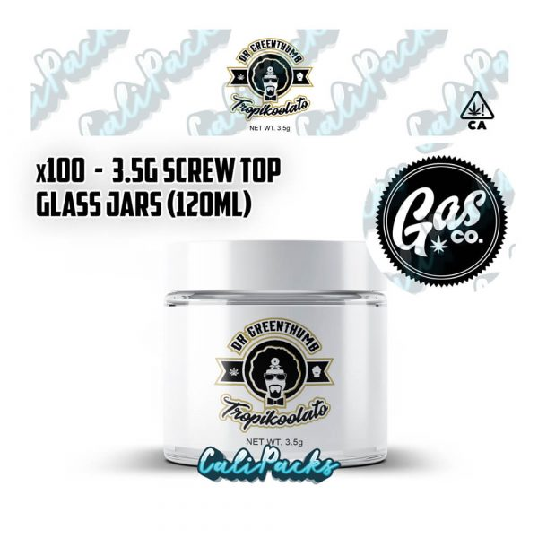 100x Gas Co Dr Greenthumb Tropikoolato 3.5g 120ml Screw Top Glass Jars