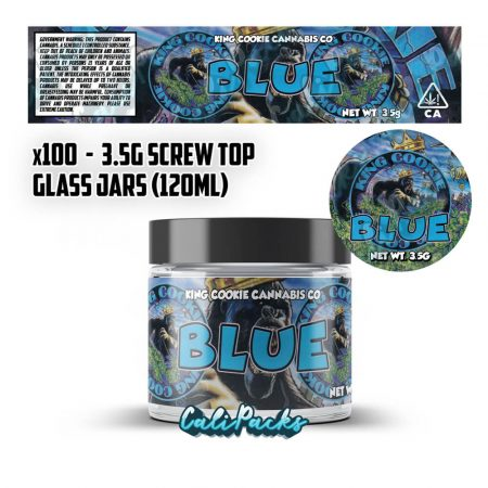 100x King Cookie Blue 3.5g 120ml Screw Top Glass Jars