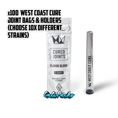 100x West Coast Cure Pre Roll Bags with Joint Holders (Choose 10x Strains)