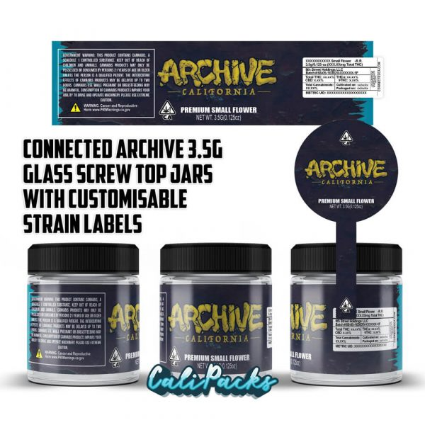 Connected Archive 3.5g 60ml Screw Top Glass Jars with Customisable Strain Labels
