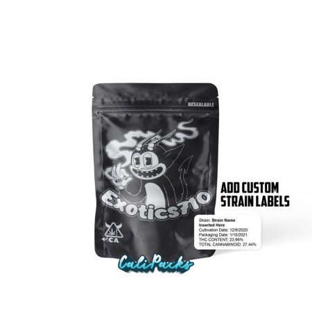 Exotics710 3.5g Mylar Bags with Customisable Strain Labels