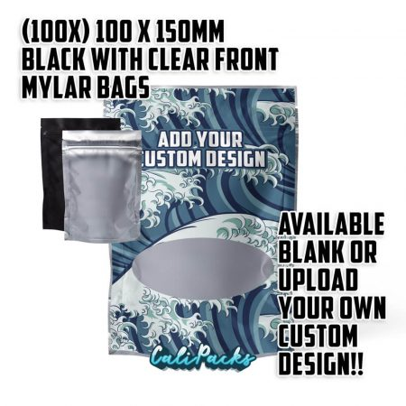 100x 100x150mm Black with Clear Front Mylar Bags by Calipacks.co.uk