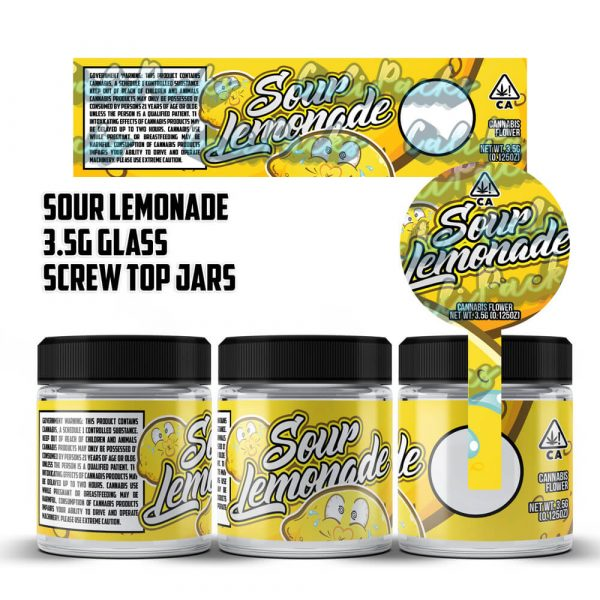 Sour Lemonade 3.5g 60ml Screw Top Glass Jars by Calipacks.co.uk