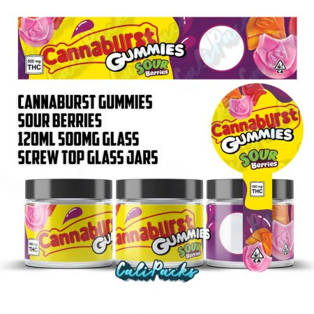 100x Cannaburst Gummies Sour Berries 500mg 120ml Screw Top Glass Jars