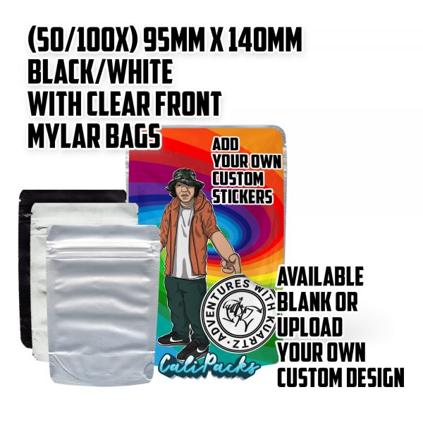 95x140mm 3.5g Blank Mylar Bags - Black/White with Clear Front by Calipacks.co.uk