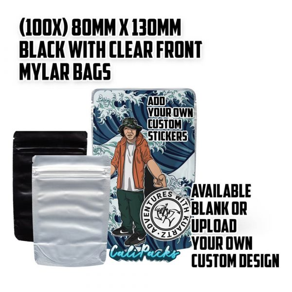 100x 3.5g Blank Mylar Bags - Black with Clear Front by Calipacks.co.uk