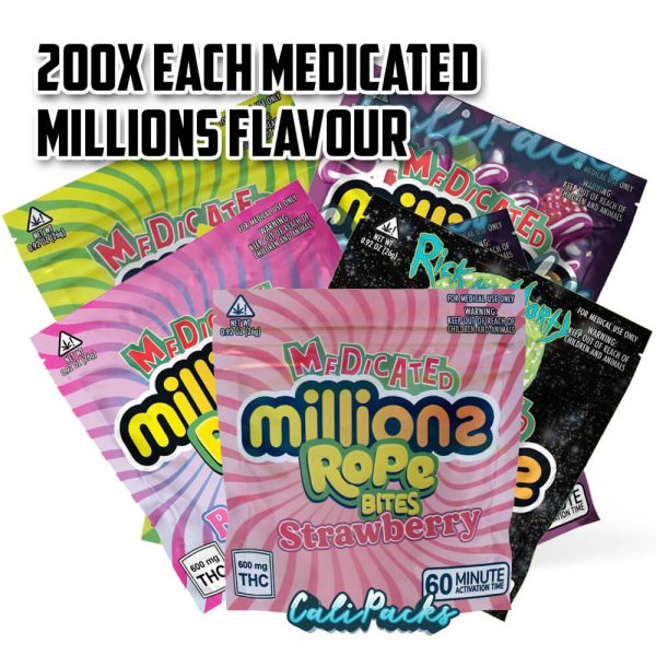 200 x 8 Flavours of Medicated Millions Packs (1600 bags) by Calipacks.co.uk