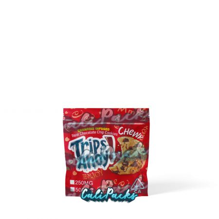 Trips Ahoy Cannabis Infused Cookie Red 250mg/500mg Mylar Bag . Does not edibles, this is packaging only. Supplied by Calipacks.co.uk