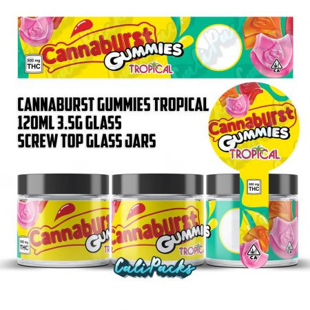 100x Cannaburst Gummies Tropical 500mg 120ml Screw Top Glass Jars by Calipacks.co.uk