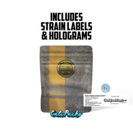 Grandiflora Supercharger 3.5g Mylar Bags with Holograms & Strain Labels by Calipacks.co.uk