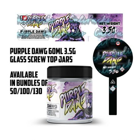 Purple Dawg 3.5g 60ml Screw Top Glass Jars by Calipacks.co.uk