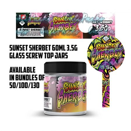 Sunset Sherbet 3.5g 60ml Screw Top Glass Jars by Calipacks.co.uk