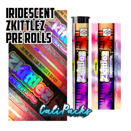 Iridescent Reflective Zkittles Pre-Roll Tubes by Calipacks.co.uk