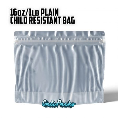 1Lb (16 Ounce) Blank Child Resistant Mylar Bags by Calipacks.co.uk